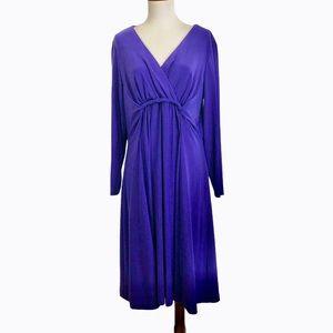 Coldwater Creek Purple V-Neck Wrap Look Dress